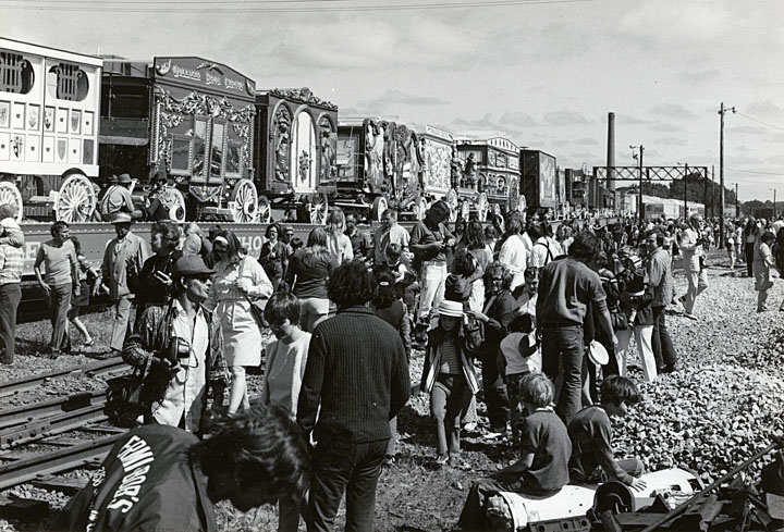 <table class=&quot;lightbox&quot;><tr><td colspan=2 class=&quot;lightbox-title&quot;>Great Circus Parade Train</td></tr><tr><td colspan=2 class=&quot;lightbox-caption&quot;>A train full of circus cars and carriages passes through Madison on its way to Milwaukee in 1973. </td></tr><tr><td colspan=2 class=&quot;lightbox-spacer&quot;></td></tr><tr class=&quot;lightbox-detail&quot;><td class=&quot;cell-title&quot;>Source: </td><td class=&quot;cell-value&quot;>From the State of Wisconsin Collection of the UW Digital Collections Library. Image ID WI.dnr1152.bib. Photograph courtesy of the Wisconsin Department of Natural Resources. CC BY-ND 4.0.<br /><a href=&quot;http://digital.library.wisc.edu/1711.dl/WI&quot; target=&quot;_blank&quot;>UW Digital Collections Library</a></td></tr><tr class=&quot;filler-row&quot;><td colspan=2>&nbsp;</td></tr></table>