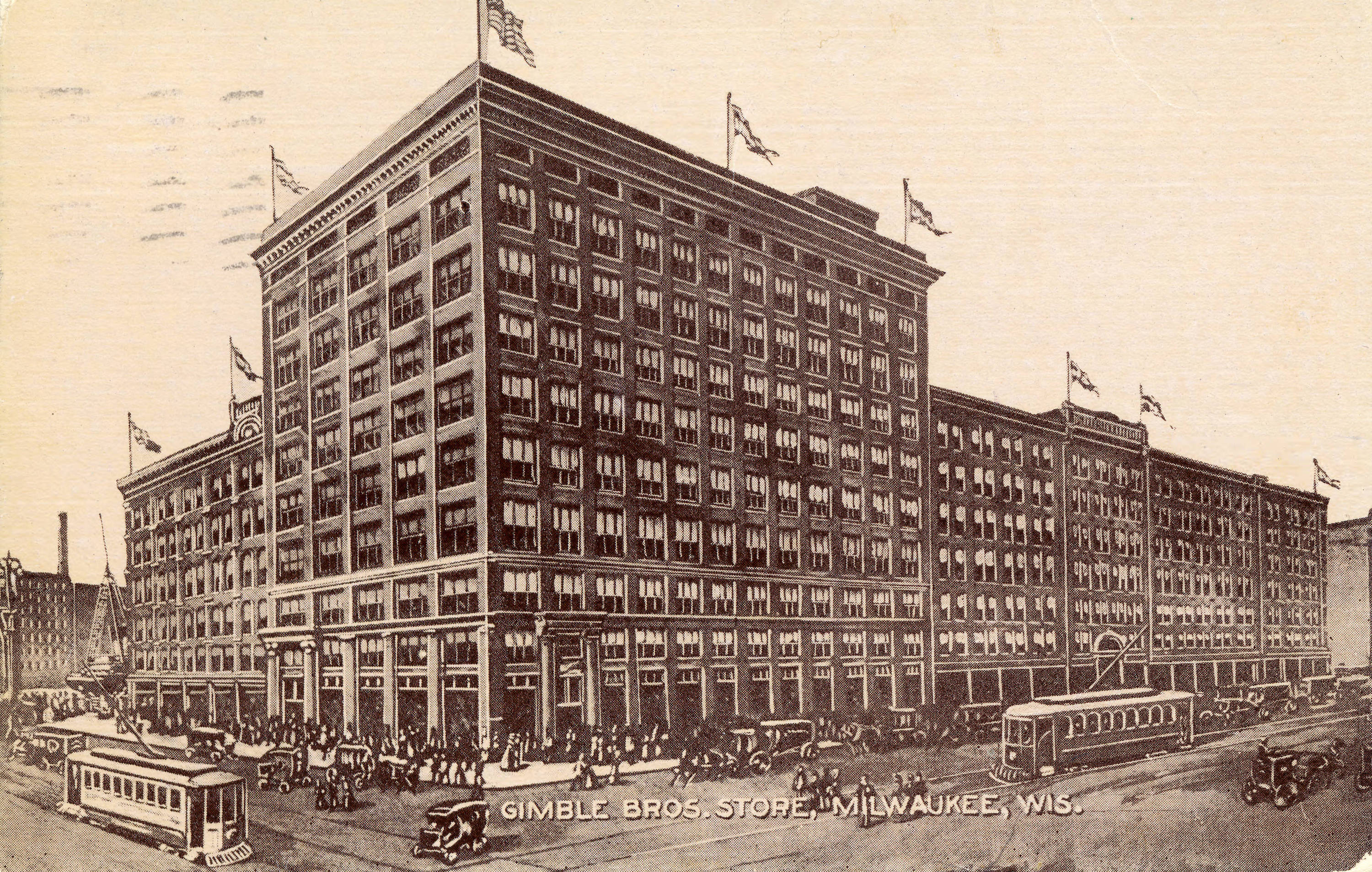 This 1912 image shows the large Gimbels department store building downtown.