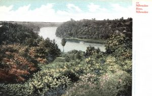 By the early twentieth century, nearly all of the natural woodlands in Milwaukee, as seen here flanking the Milwaukee River, were gone.