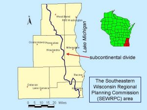 This map from the U.S. Geological Survey illustrates where the Subcontinental Divide runs through southeastern Wisconsin.