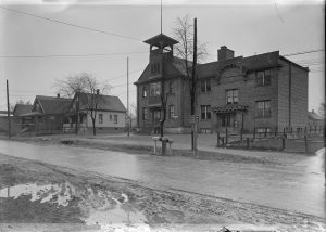 Built in 1916, this public school building belonged to District No. 2 in Milwaukee and stood on present-day S. 13th Street. It is pictured here in 1924.