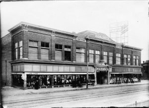 An exterior shot of the Lion Department store, once located on Mitchell Street in the heart of Milwaukee's Polish community. The store burned down in 1919, but it was rebuilt on the same site and is now home to the Mitchell Street branch of the Milwaukee Public Library.