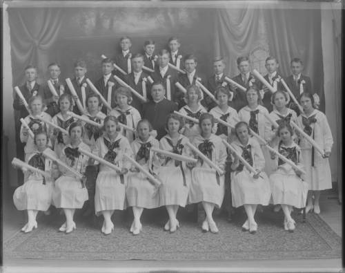 <table class=&quot;lightbox&quot;><tr><td colspan=2 class=&quot;lightbox-title&quot;>St. Stanislaus High School Graduates</td></tr><tr><td colspan=2 class=&quot;lightbox-caption&quot;>The St. Stanislaus High School graduating class of 1920 hold their diplomas in this group photograph.</td></tr><tr><td colspan=2 class=&quot;lightbox-spacer&quot;></td></tr><tr class=&quot;lightbox-detail&quot;><td class=&quot;cell-title&quot;>Source: </td><td class=&quot;cell-value&quot;>From the Roman B. Kwaniewski Photographs Collection, Archives. University of Wisconsin-Milwaukee Libraries.<br /><a href=&quot;https://collections.lib.uwm.edu/digital/collection/mke-polonia/id/35937/rec/18&quot; target=&quot;_blank&quot;>University of Wisconsin-Milwaukee Libraries</a></td></tr><tr class=&quot;filler-row&quot;><td colspan=2>&nbsp;</td></tr></table>