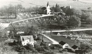 Birds-eye view of the Norway-Muskego Church and parsonage near Wind Lake in Racine County. The church was dedicated in 1870 and still stands, now known as the Norway Evangelical Lutheran Church.
