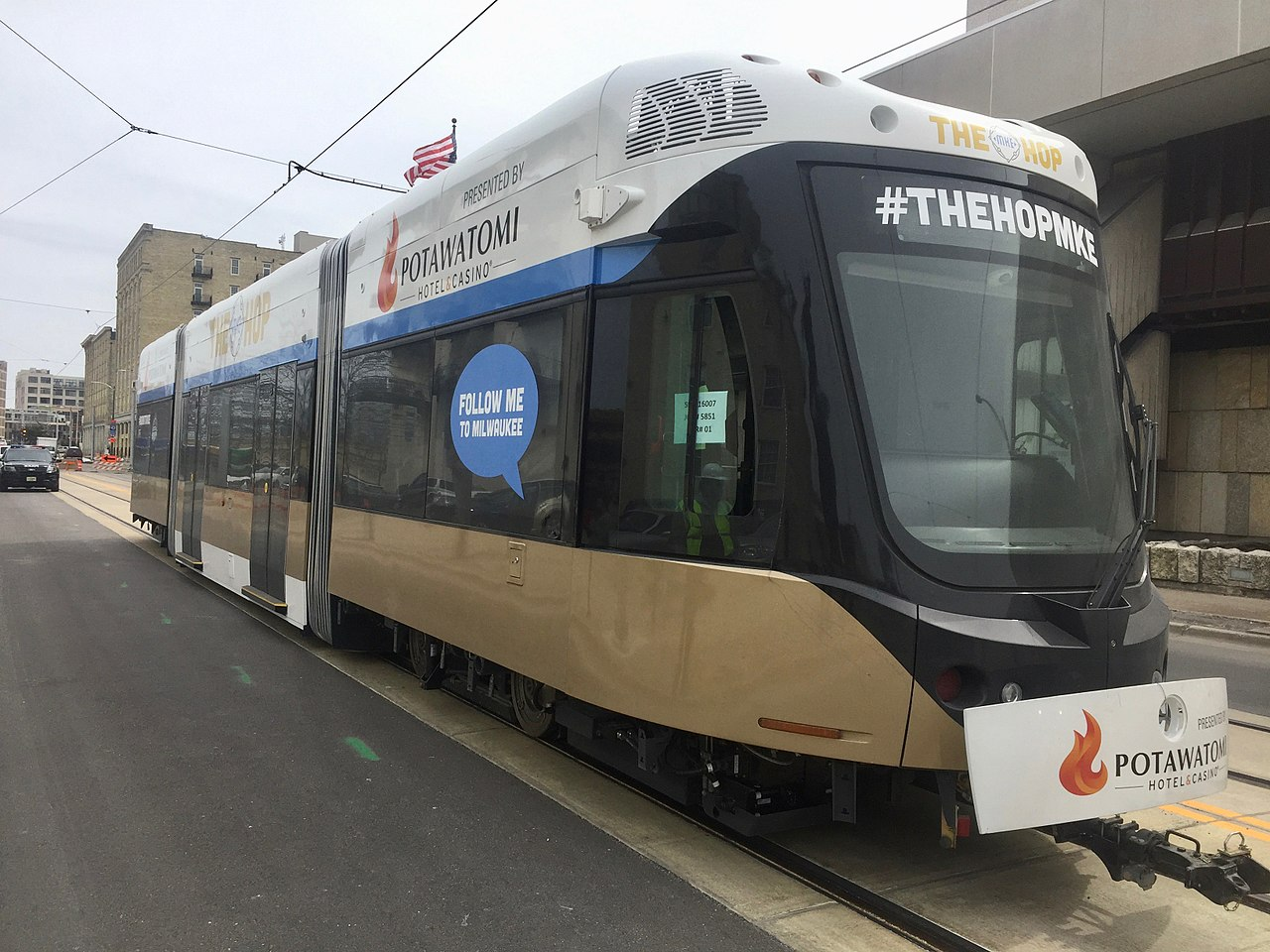 <table class=&quot;lightbox&quot;><tr><td colspan=2 class=&quot;lightbox-title&quot;>The HOP MKE</td></tr><tr><td colspan=2 class=&quot;lightbox-caption&quot;>A modern streetcar through downtown, called The HOP MKE, hit the tracks in Spring 2018 and is set to be open to the public in November.</td></tr><tr><td colspan=2 class=&quot;lightbox-spacer&quot;></td></tr><tr class=&quot;lightbox-detail&quot;><td class=&quot;cell-title&quot;>Source: </td><td class=&quot;cell-value&quot;>From the Wikimedia Commons. Photograph by Nicholas La Joie. CC BY-SA 4.0.<br /><a href=&quot;https://commons.wikimedia.org/wiki/File:The_HOP_MKE_Streetcar.jpg&quot; target=&quot;_blank&quot;>Wikimedia Commons</a></td></tr><tr class=&quot;filler-row&quot;><td colspan=2>&nbsp;</td></tr></table>