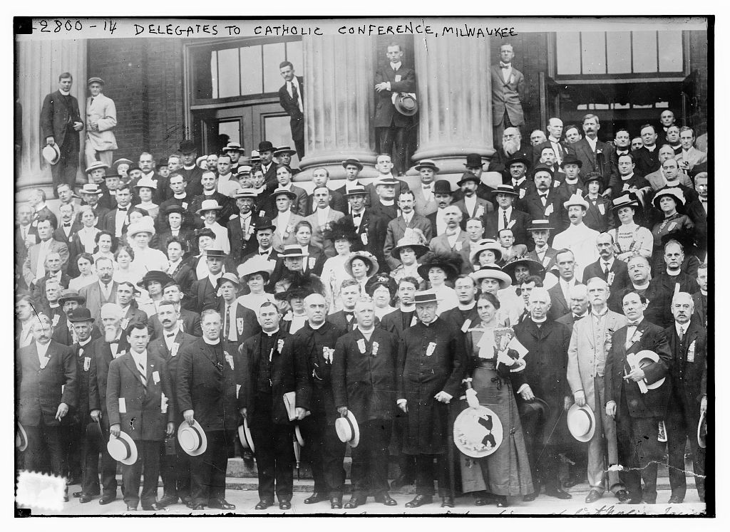 <table class=&quot;lightbox&quot;><tr><td colspan=2 class=&quot;lightbox-title&quot;>American Federation of Catholic Societies Delegates</td></tr><tr><td colspan=2 class=&quot;lightbox-caption&quot;>In August 1913, Milwaukee hosted a convention of the American Federation of Catholic Societies. Cardinal James Gibbons, one of the most prominent Catholic figures in the United States at the time, attended.</td></tr><tr><td colspan=2 class=&quot;lightbox-spacer&quot;></td></tr><tr class=&quot;lightbox-detail&quot;><td class=&quot;cell-title&quot;>Source: </td><td class=&quot;cell-value&quot;>From the Library of Congress Bain News Service Photograph Collection.</td></tr><tr class=&quot;filler-row&quot;><td colspan=2>&nbsp;</td></tr></table>