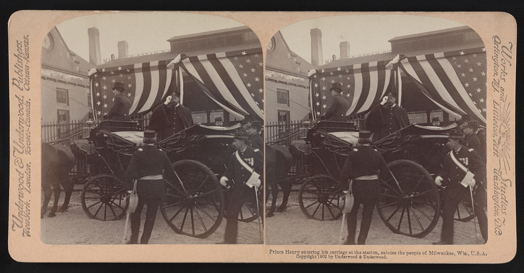 <table class=&quot;lightbox&quot;><tr><td colspan=2 class=&quot;lightbox-title&quot;>Prince Henry Visits Milwaukee</td></tr><tr><td colspan=2 class=&quot;lightbox-caption&quot;>In 1902, Prince Henry of Prussia visited the United States. The younger brother of Kaiser Wilhelm II is seen here in his carriage in Milwaukee.</td></tr><tr><td colspan=2 class=&quot;lightbox-spacer&quot;></td></tr><tr class=&quot;lightbox-detail&quot;><td class=&quot;cell-title&quot;>Source: </td><td class=&quot;cell-value&quot;>From the Library of Congress Prints and Photograph Division. <br /><a href=&quot;https://www.loc.gov/item/2017652383/&quot; target=&quot;_blank&quot;>Library of Congress</a></td></tr><tr class=&quot;filler-row&quot;><td colspan=2>&nbsp;</td></tr></table>