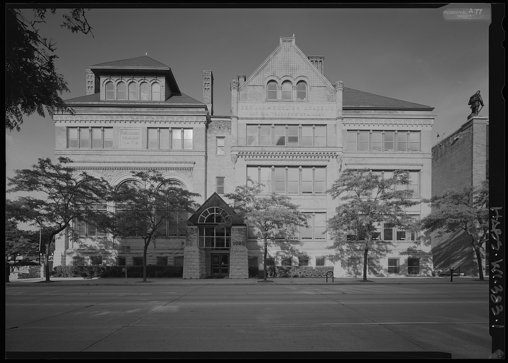 The University School of Milwaukee has its roots in the German-English Academy, which was founded in 1851. The German-English Academy's iconic building, pictured here, still stands downtown.