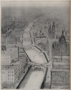 This 1904 sketch is Alfred Clas's initial design for Milwaukee's RiverWalk that did not see fruition until several decades later.