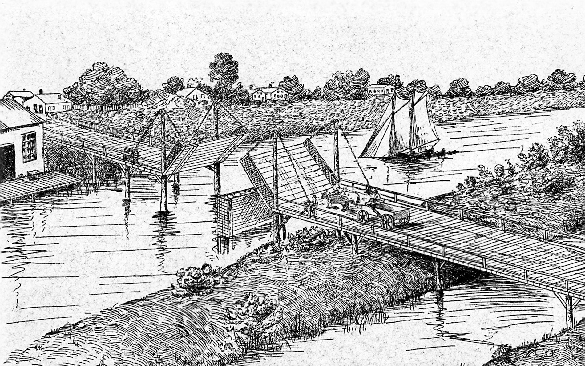 This sketch illustrates the Chestnut Street bridge that connected the east and west sides of early Milwaukee and stood at the center of the city's bridge war.