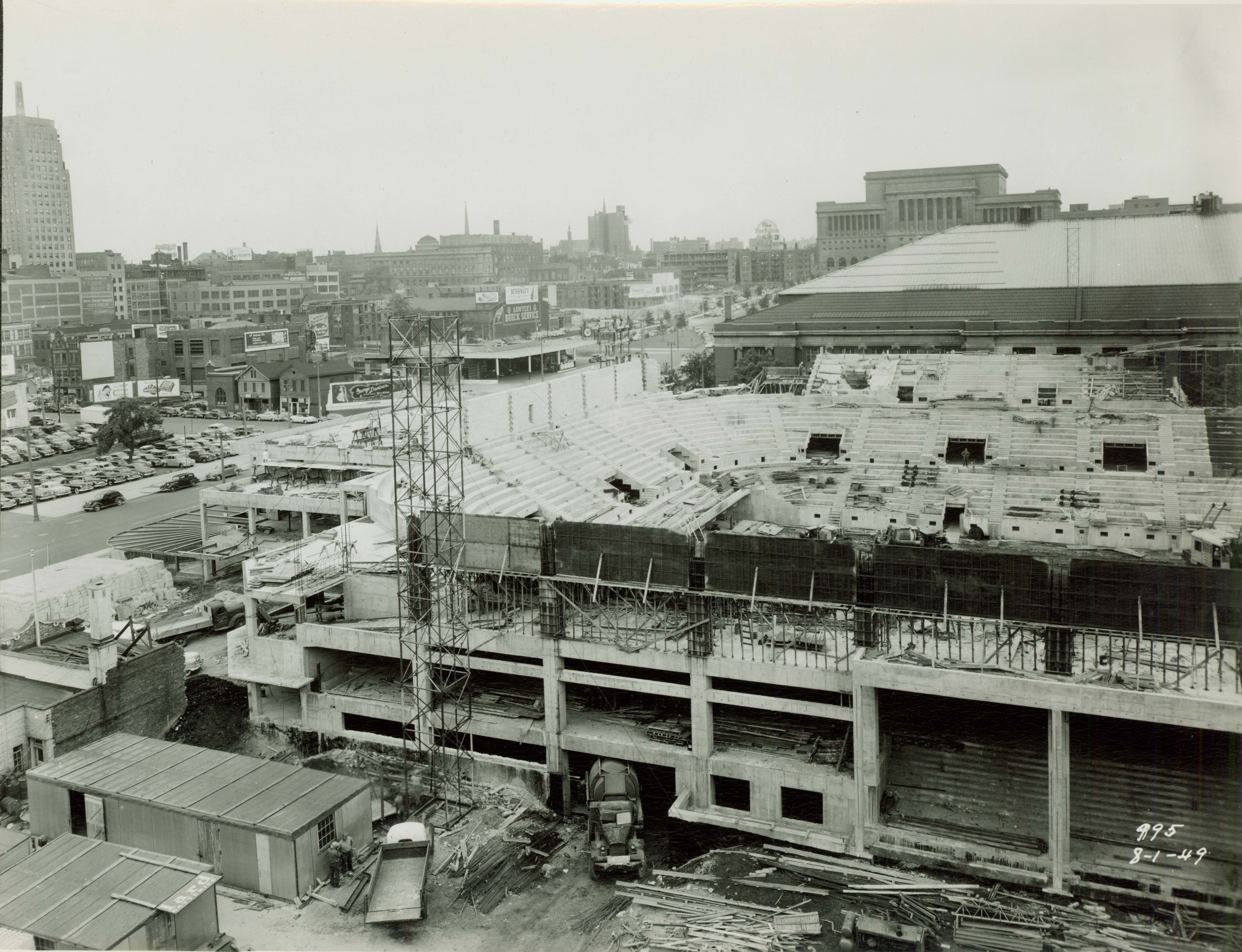 <table class=&quot;lightbox&quot;><tr><td colspan=2 class=&quot;lightbox-title&quot;>Milwaukee Arena Construction</td></tr><tr><td colspan=2 class=&quot;lightbox-caption&quot;>The construction of the Milwaukee Arena, completed in 1950, was one of the first major initiatives for which the Greater Milwaukee Committee advocated. It is now known as the UWM Panther Arena.</td></tr><tr><td colspan=2 class=&quot;lightbox-spacer&quot;></td></tr><tr class=&quot;lightbox-detail&quot;><td class=&quot;cell-title&quot;>Source: </td><td class=&quot;cell-value&quot;>From the Historic Photo Collection of the Milwaukee Public Library. Reprinted with permission.<br /><a href=&quot;http://content.mpl.org/cdm/singleitem/collection/HstoricPho/id/7831/rec/10&quot; target=&quot;_blank&quot;>Milwaukee Public Library</a></td></tr><tr class=&quot;filler-row&quot;><td colspan=2>&nbsp;</td></tr></table>