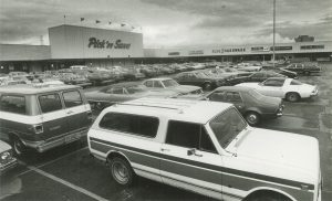 Lacking any major industrial sites, Greenfield does host several larger shopping facilities, like the Spring Mall, pictured here in 1982.