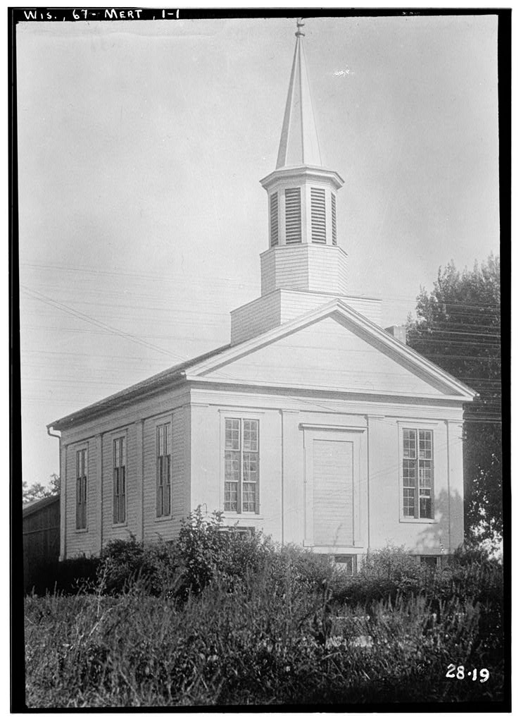 <table class=&quot;lightbox&quot;><tr><td colspan=2 class=&quot;lightbox-title&quot;>First Baptist Church of Merton</td></tr><tr><td colspan=2 class=&quot;lightbox-caption&quot;>Built in 1855, this building was home to the First Baptist Church until 2009. It was then purchased by the village and now serves as a community center.</td></tr><tr><td colspan=2 class=&quot;lightbox-spacer&quot;></td></tr><tr class=&quot;lightbox-detail&quot;><td class=&quot;cell-title&quot;>Source: </td><td class=&quot;cell-value&quot;>From the Library of Congress Historic American Buildings Survey Collection.<br /><a href=&quot;https://www.loc.gov/resource/hhh.wi0119.photos&quot; target=&quot;_blank&quot;>Library of Congress</a></td></tr><tr class=&quot;filler-row&quot;><td colspan=2>&nbsp;</td></tr></table>