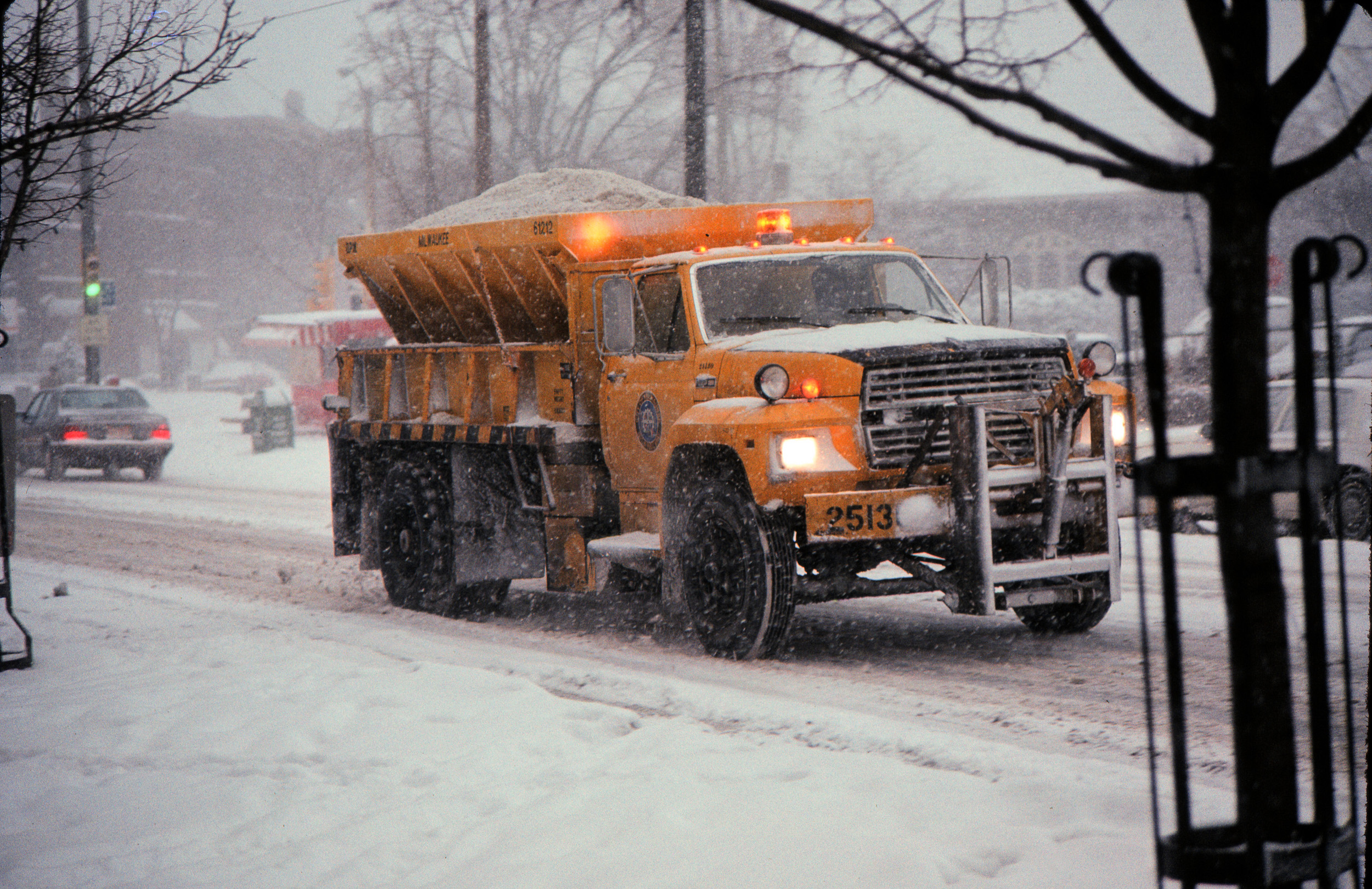 <table class=&quot;lightbox&quot;><tr><td colspan=2 class=&quot;lightbox-title&quot;>Public Works Salt Truck</td></tr><tr><td colspan=2 class=&quot;lightbox-caption&quot;>A Milwaukee public works truck lays down salt on Downer Avenue in 1988.  </td></tr><tr><td colspan=2 class=&quot;lightbox-spacer&quot;></td></tr><tr class=&quot;lightbox-detail&quot;><td class=&quot;cell-title&quot;>Source: </td><td class=&quot;cell-value&quot;>Photograph by Alan Magayne-Roshak. Copyright 2014. Reprinted with permission.</td></tr><tr class=&quot;filler-row&quot;><td colspan=2>&nbsp;</td></tr></table>