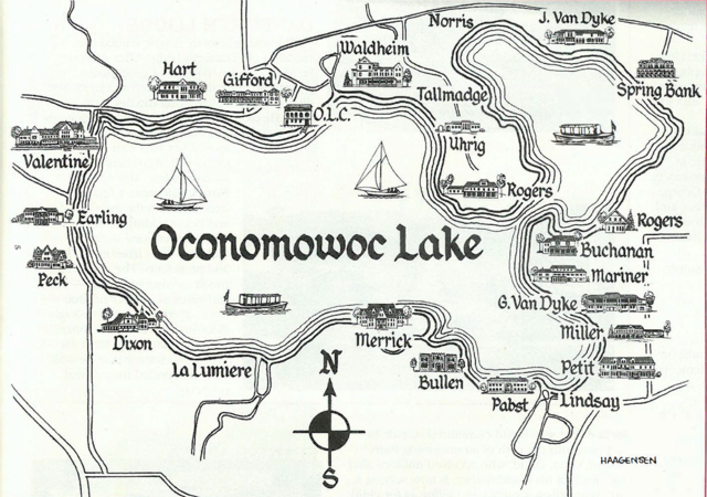 This early twentieth century map highlights pleasure boating and the mansions surrounding Oconomowoc Lake.