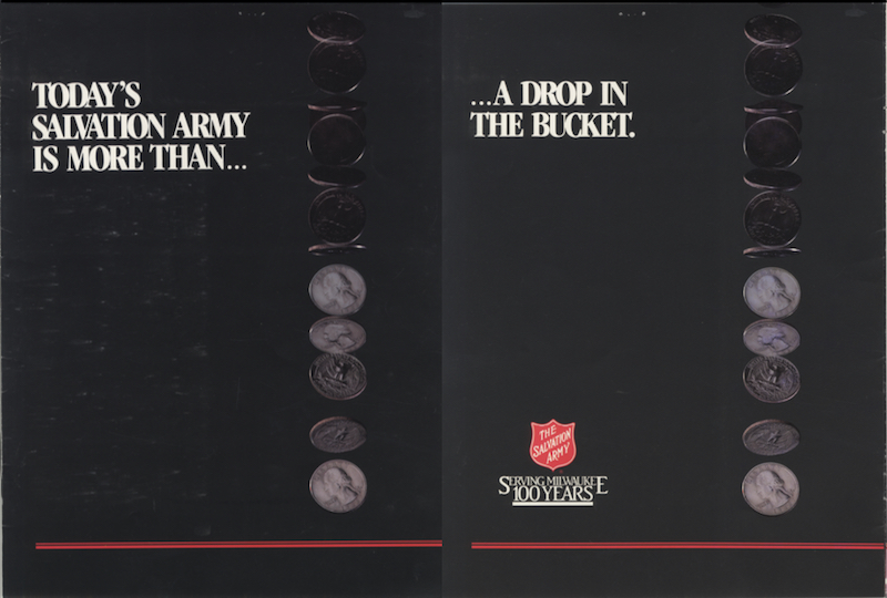 The Salvation Army's 100th anniversary booklet, published in 1999, emphasizes both the organization's significant contribution to the community and its continuing presence.