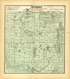 This plat map of Summit from 1873 illustrates land distribution in the village. Some of the plats are quite large, which highlights the prominence of agriculture in the community.