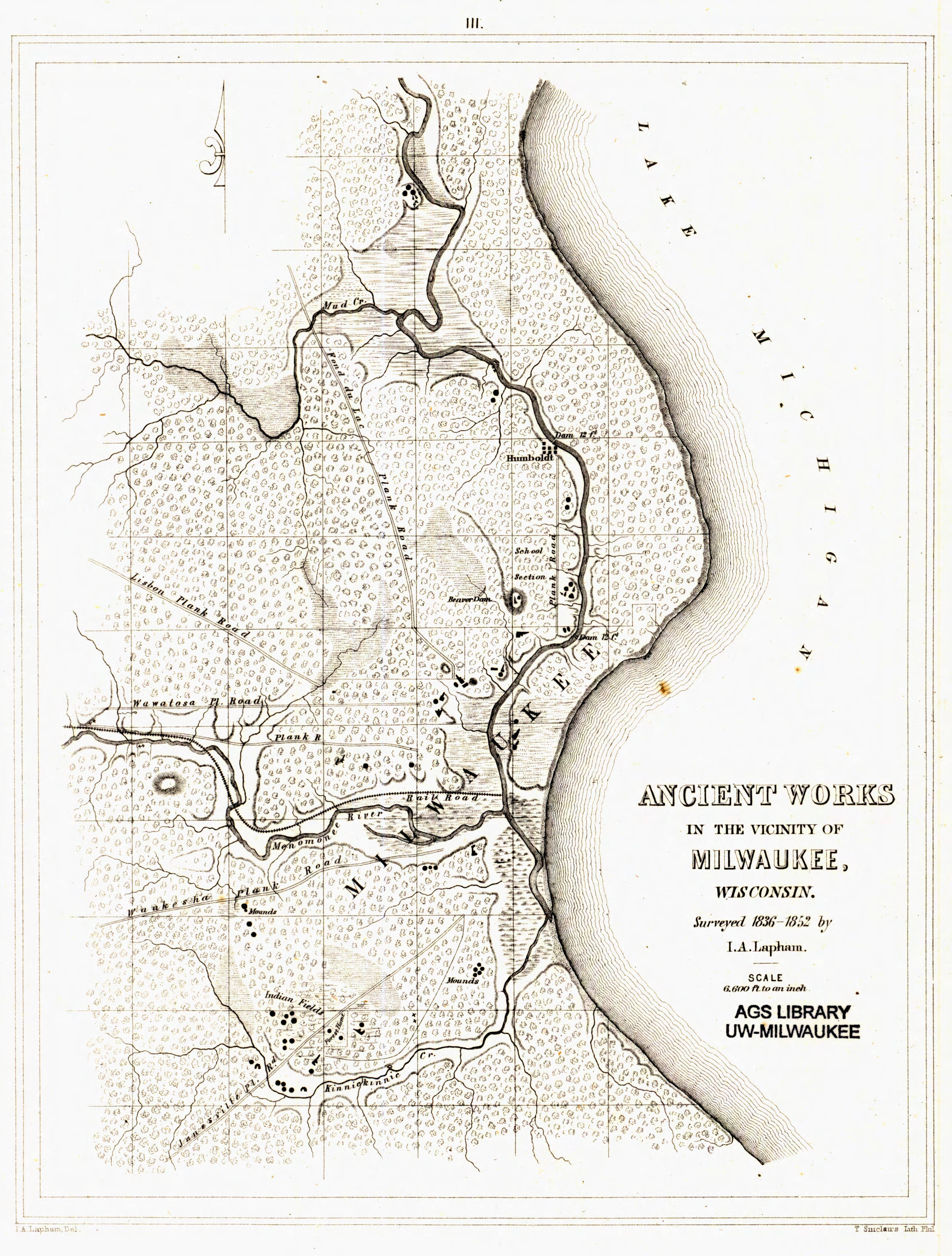 <table class=&quot;lightbox&quot;><tr><td colspan=2 class=&quot;lightbox-title&quot;>Effigy Mound Locations</td></tr><tr><td colspan=2 class=&quot;lightbox-caption&quot;>A survey by 19th century scientist Increase Lapham showed &quot;ancient works&quot; in the Milwaukee area, including effigy mounds.</td></tr><tr><td colspan=2 class=&quot;lightbox-spacer&quot;></td></tr><tr class=&quot;lightbox-detail&quot;><td class=&quot;cell-title&quot;>Source: </td><td class=&quot;cell-value&quot;>From the American Geographical Society Library Digital Map Collection. University of Wisconsin-Milwaukee Libraries.<br /><a href=&quot;https://collections.lib.uwm.edu/digital/collection/agdm/id/58/rec/1&quot; target=&quot;_blank&quot;>University of Wisconsin-Milwaukee Libraries</a></td></tr><tr class=&quot;filler-row&quot;><td colspan=2>&nbsp;</td></tr></table>