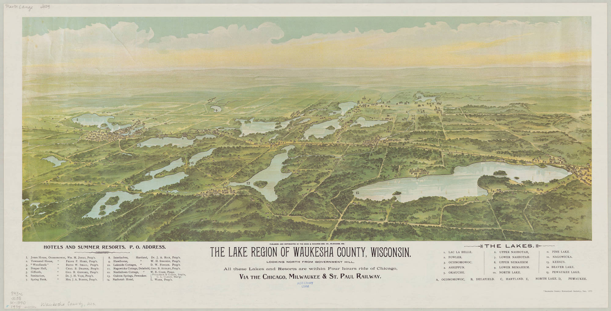 The Lake Country is shown in this 1890 bird's eye view.