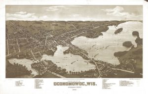 An 1885 bird's eye view of Oconomowoc that highlights recreational boating.