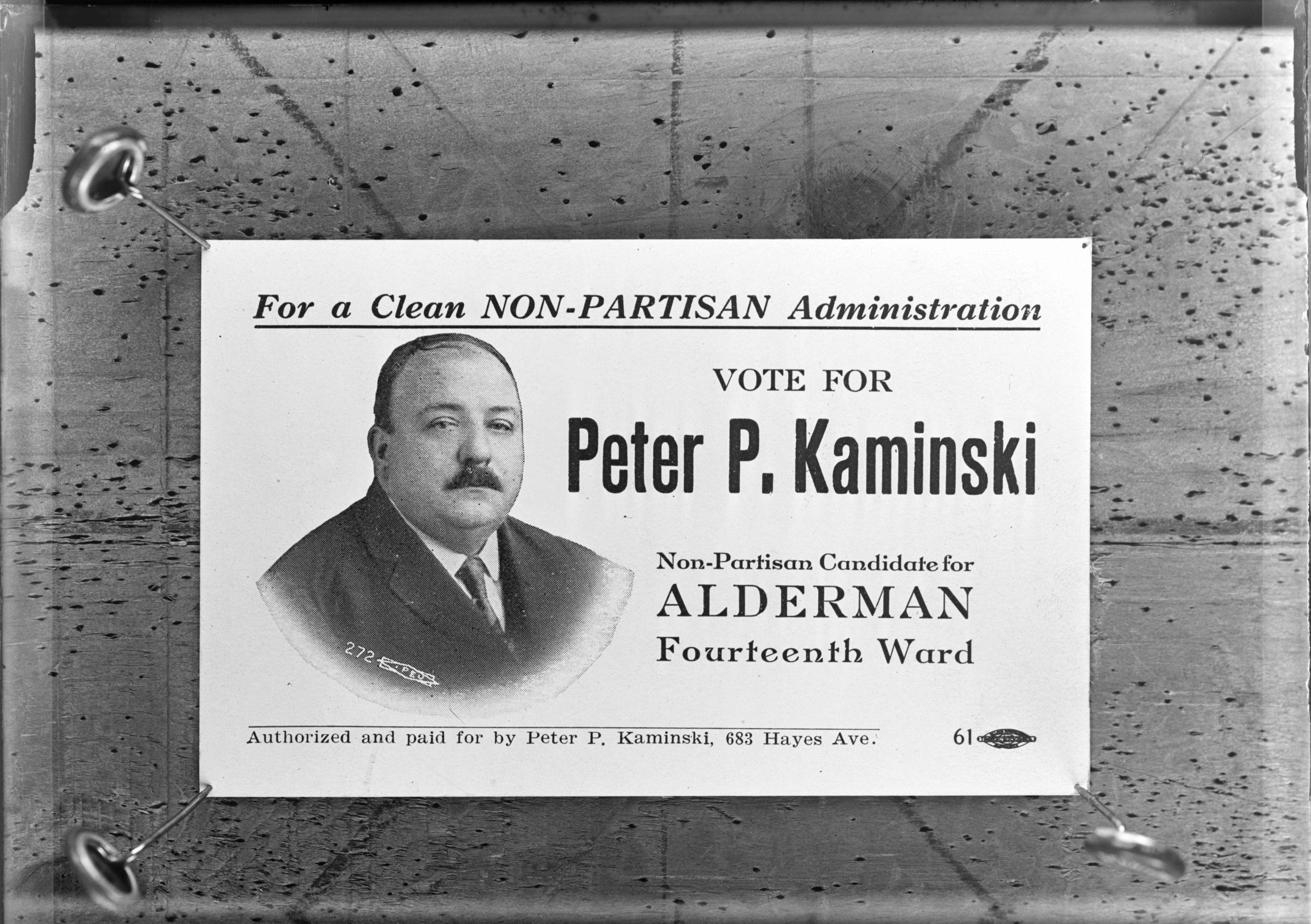 "This early twentieth century campaign poster encourages people to elect Peter Kaminski as a Milwaukee alderman and promises a ""Clean Non-Partisan Administration."""