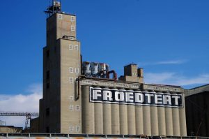 Though now owned by Malteurop, the silos of the Froedtert Malt Company still stand as an industrial landmark in West Milwaukee.