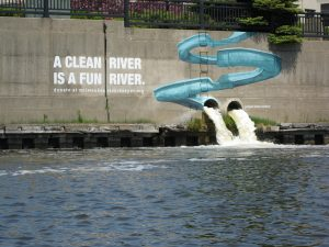 Located along the Milwaukee River, this mural advocates for care of the river so that it can be enjoyed by humans and wildlife alike.