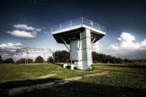 Though closed since 1971, evidence of the Milwaukee area's Nike anti-aircraft missile sites remain. This photograph features one of the abandoned radar towers at the Waukesha site.