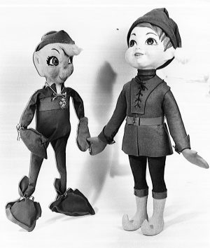 In 1973, Gimbels revived Billie the Brownie by updating the character's look and producing figurines, like this one, that were used as props in storefront displays.