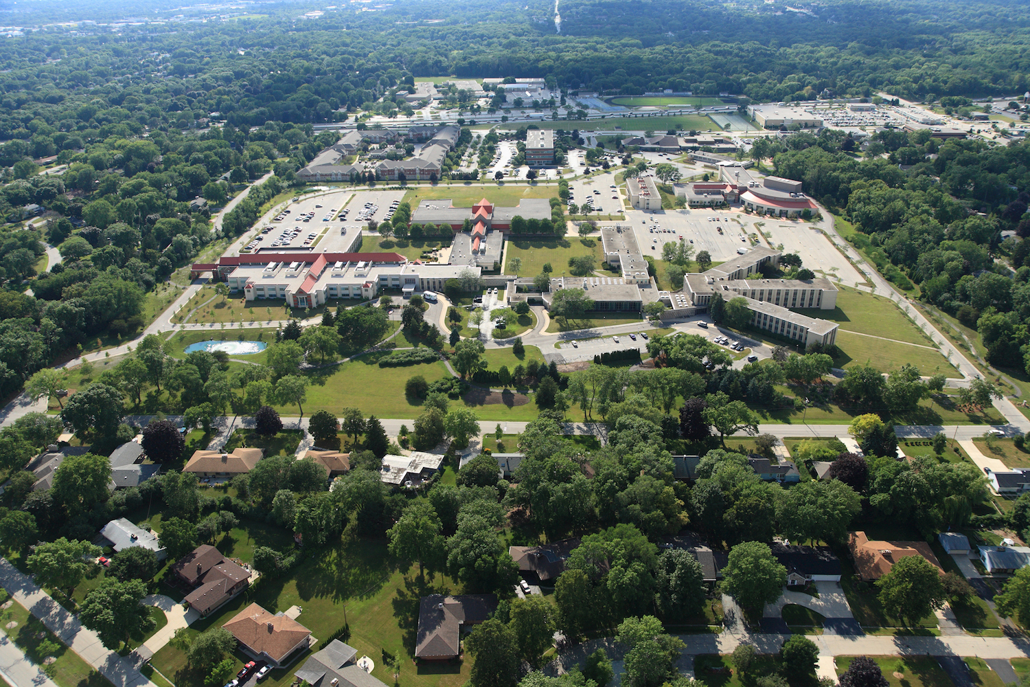 Cardinal Stritch University experienced significant growth and expansion toward the end of the 20th century. This modern aerial photograph provides a view of campus from the east.