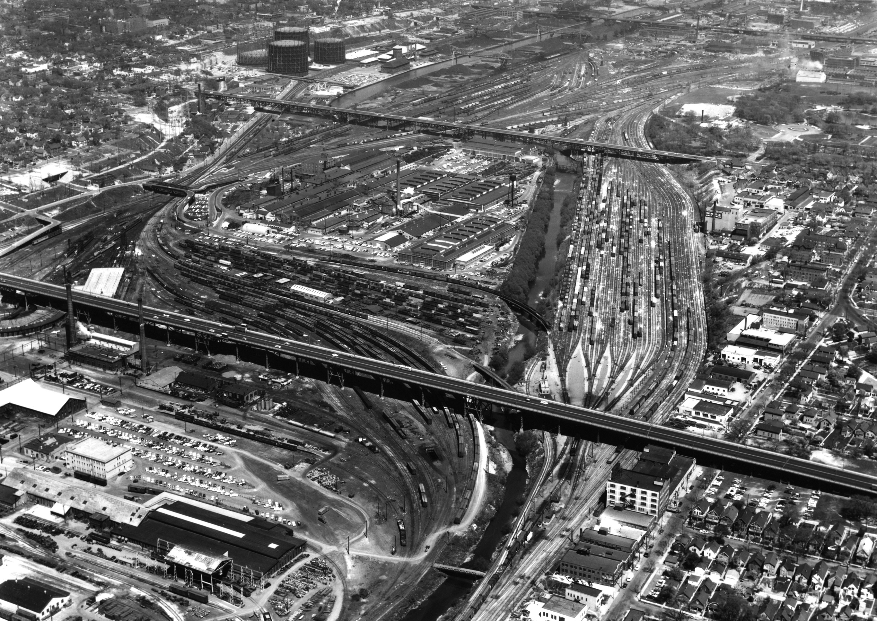 Menomonee Valley in 1958, looking east, when Milwaukee's industrial economy still hummed along.