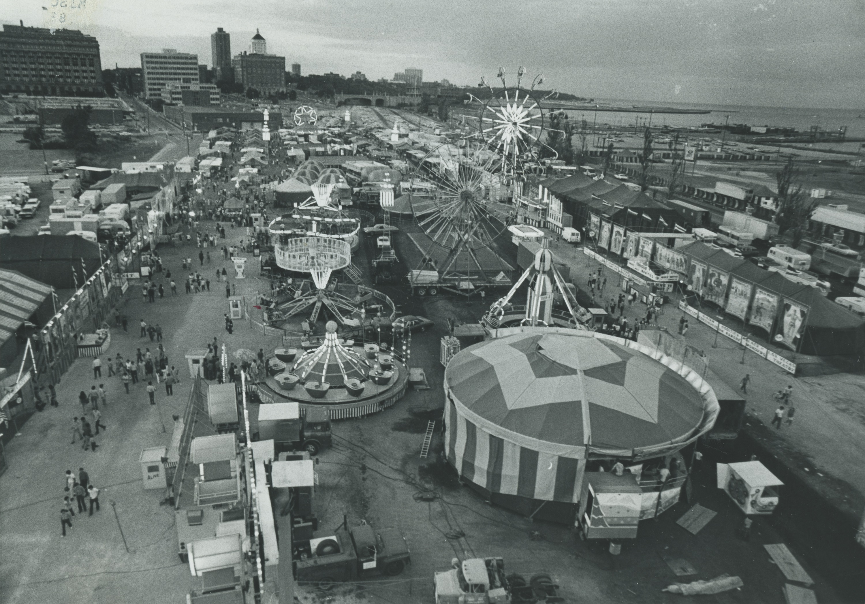<table class=&quot;lightbox&quot;><tr><td colspan=2 class=&quot;lightbox-title&quot;>Midway at Summerfest</td></tr><tr><td colspan=2 class=&quot;lightbox-caption&quot;>This elevated photograph provides a view over Summerfest in 1971, the fourth anniversary of Milwaukee's biggest festival. </td></tr><tr><td colspan=2 class=&quot;lightbox-spacer&quot;></td></tr><tr class=&quot;lightbox-detail&quot;><td class=&quot;cell-title&quot;>Source: </td><td class=&quot;cell-value&quot;>From the Historic Photo Collection of the Milwaukee Public Library. Courtesy of the Milwaukee Journal Sentinel. Reprinted with permission.<br /><a href=&quot;http://content.mpl.org/cdm/singleitem/collection/HstoricPho/id/5977/rec/5&quot; target=&quot;_blank&quot;>Milwaukee Public Library</a></td></tr><tr class=&quot;filler-row&quot;><td colspan=2>&nbsp;</td></tr></table>