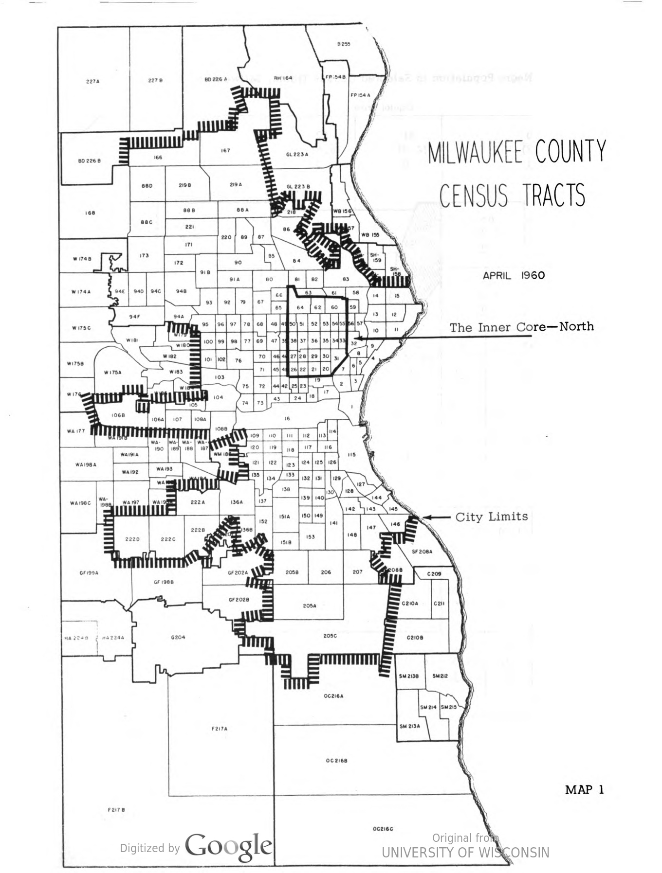 "A 1959 report defined the portion of Milwaukee occupied primarily by African Americans as the city's ""Inner Core."""