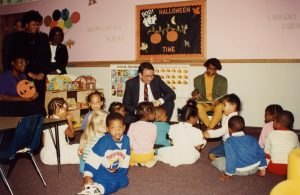 Governor Tommy Thompson visits the Learning Enterprise Center in Milwaukee as part of a Learnfare public welfare program event in 1989.