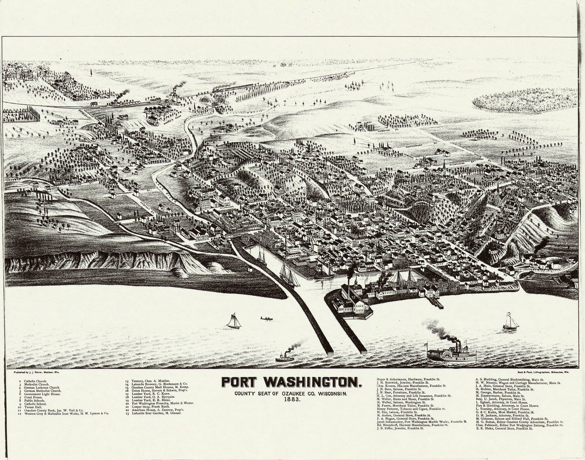 The county seat of Ozaukee County, the city of Port Washington is also the location of the only natural harbor in the county. It is pictured here in this 1883 map.