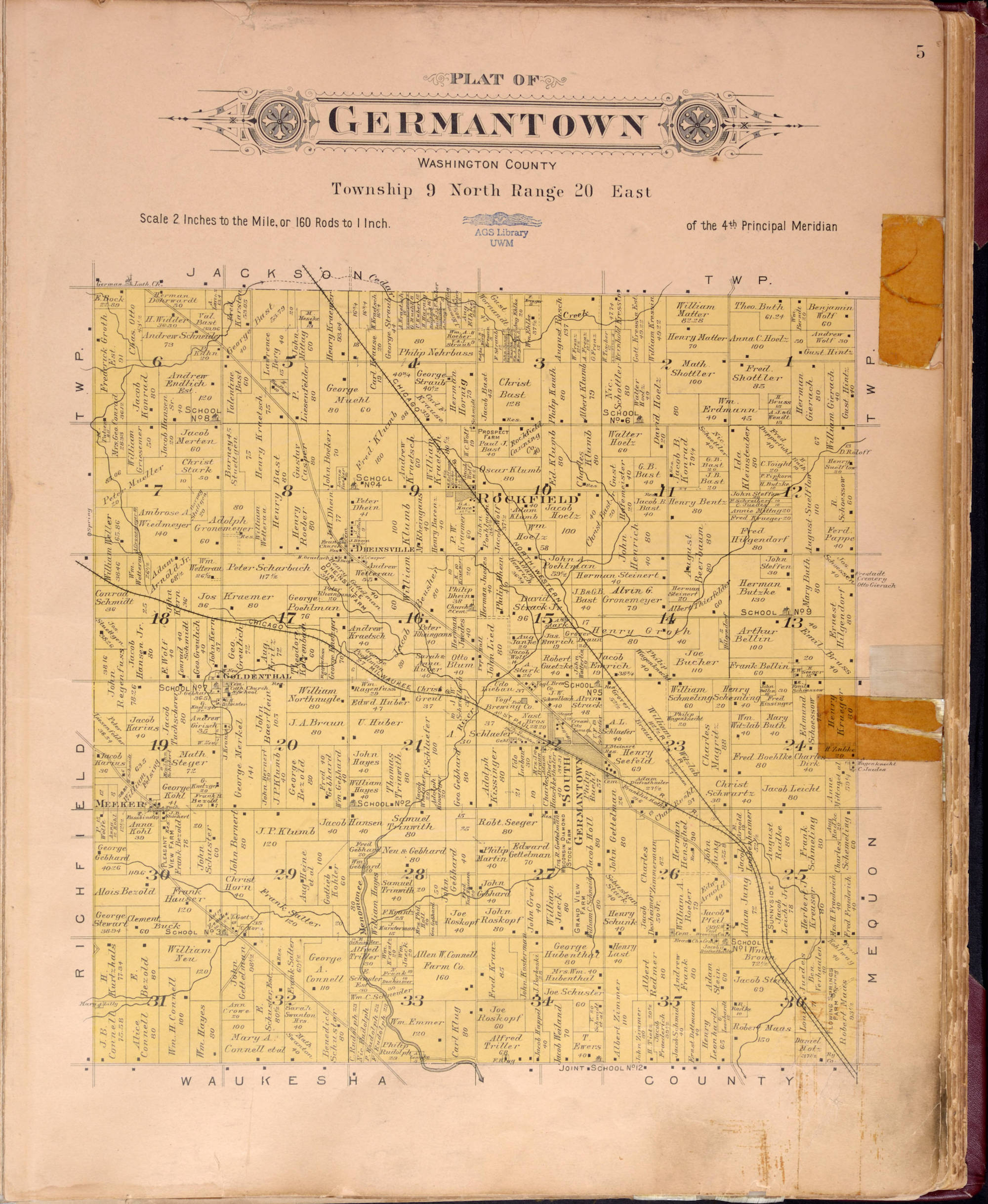 <table class=&quot;lightbox&quot;><tr><td colspan=2 class=&quot;lightbox-title&quot;>Map of Germantown</td></tr><tr><td colspan=2 class=&quot;lightbox-caption&quot;>This 1915 plat map of Germantown shows major roads, who owned the land, and clusters of settlement. </td></tr><tr><td colspan=2 class=&quot;lightbox-spacer&quot;></td></tr><tr class=&quot;lightbox-detail&quot;><td class=&quot;cell-title&quot;>Source: </td><td class=&quot;cell-value&quot;>From the American Geographical Society Library Digital Map Collection. University of Wisconsin-Milwaukee Libraries.<br /><a href=&quot;https://collections.lib.uwm.edu/digital/collection/agdm/id/7081/rec/2&quot; target=&quot;_blank&quot;>University of Wisconsin-Milwaukee Libraries</a></td></tr><tr class=&quot;filler-row&quot;><td colspan=2>&nbsp;</td></tr></table>