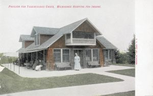 Once part of the Milwaukee Hospital for the Insane, this postcard illustrates the pavilion used to quarantine tuberculosis patients in the 20th century.