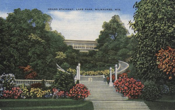The grand staircase at Lake Park was designed by Alfred C. Clas, Milwaukee's strongest supporter of the City Beautiful movement, and completed in 1908.