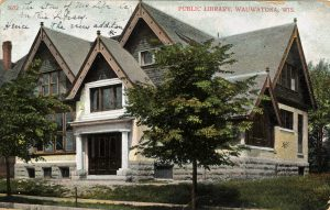 This postcard features the Wauwatosa Public Library, founded in 1886, as it appeared in 1908.