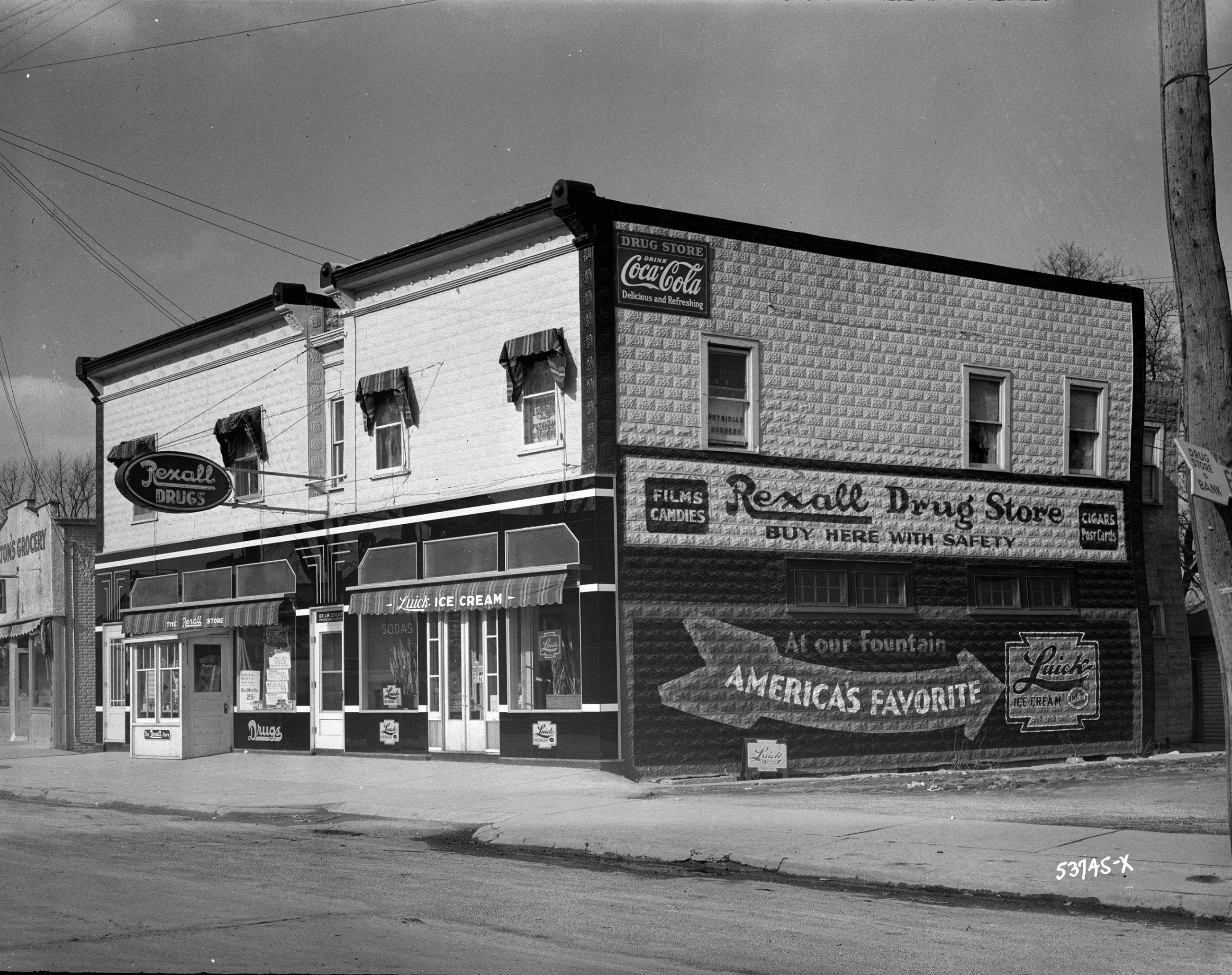 The building that was home to this Rexall Drug Store in 1937 still stands in Pewaukee today. It is currently home to a pet supply store.