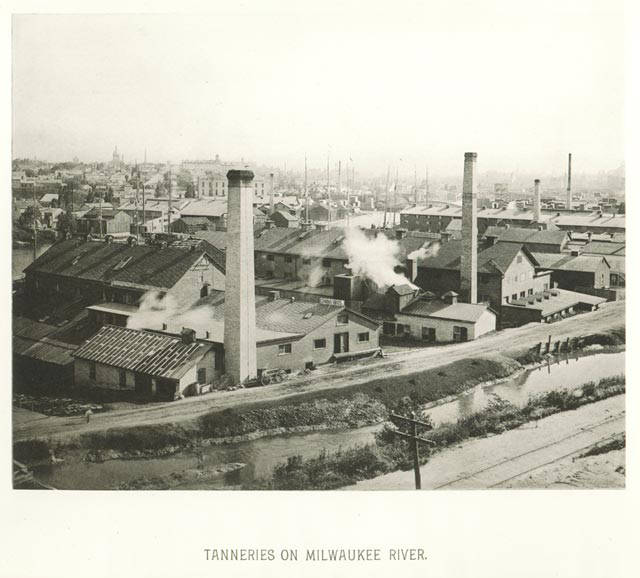The numerous tanneries and other industrial facilities  located on the banks of the Milwaukee River during the 19th and 20th centuries contributed to the water's pollution.