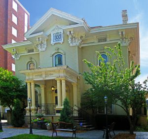The Fitzgerald House was designed by E. Townsend Mix and built in 1874. Robert Patrick Fitzgerald was an Irish immigrant who became a wealthy ship captain and maritime merchant on the Great Lakes.