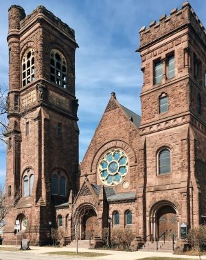 St. Paul's Episcopal Church was designed by E. Townsend Mix in the 1880s and is notable for its large and numerous Tiffany glass windows.