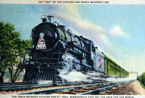 This 1936 postcard features the iconic 400s train introduced by the C&NW in 1935.