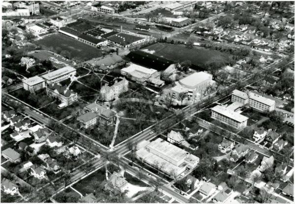 This photograph provides a view of Carroll University as it looked from the southeast in 1967, when it was still known as Carroll College.
