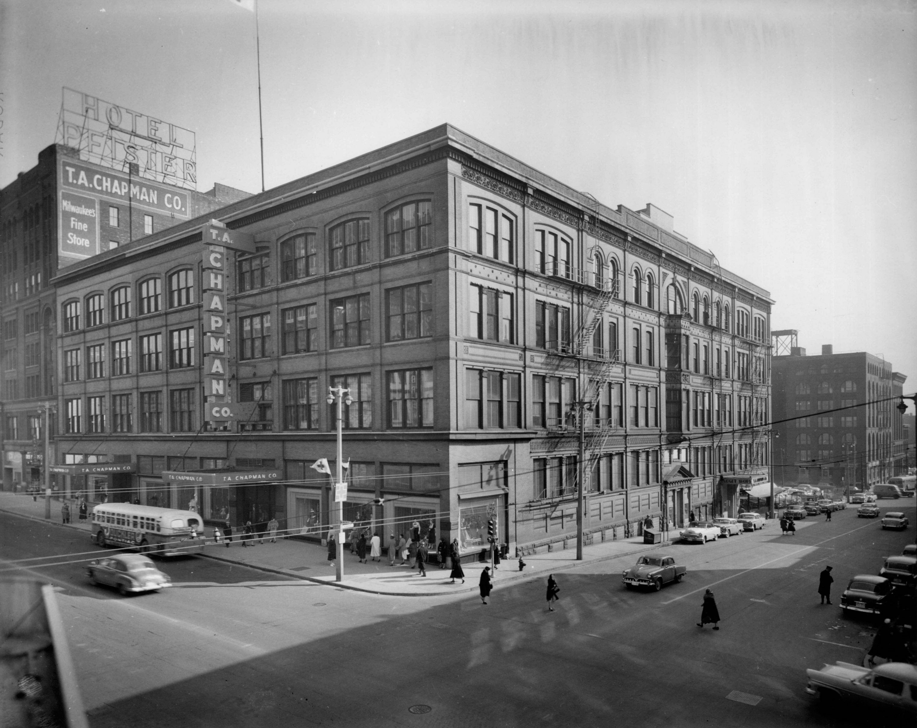 T.A. Chapman's department store, pictured here in 1955, was a prominent structure along Wisconsin Avenue from 1885 until it was torn down in 1982.