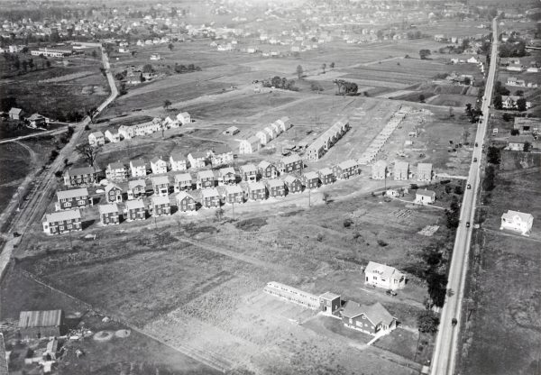 The Garden Homes housing development was the first municipally-sponsored public housing project in the United States. This 1922 aerial photograph provides a view of the neatly laid out homes just before they were completed in 1923.