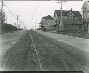 The village of Shorewood developed along the Oakland Avenue streetcar line, pictured here at E. Newton Avenue in the early 20th century.
