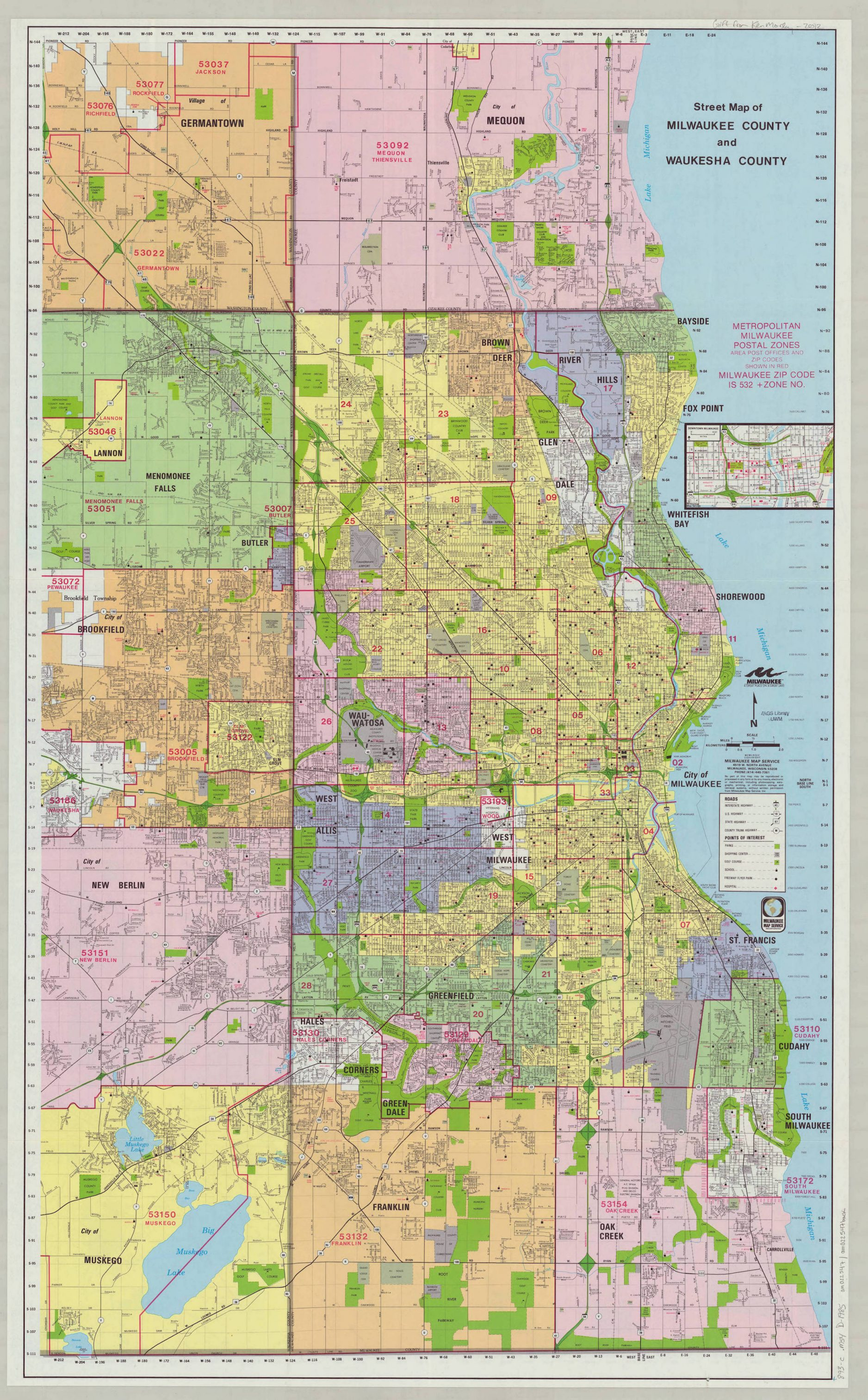This 1985 map illustrates the many communities that have developed in the greater Milwaukee area over time.