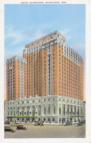 The Hotel Schroeder is the only hotel built in Milwaukee during the early 20th century that still stands. First opened in 1928, it is now home to a Hilton hotel.